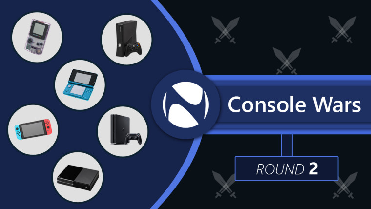 Xbox, Nintendo, and Sony console images inside circles with Console Wars written