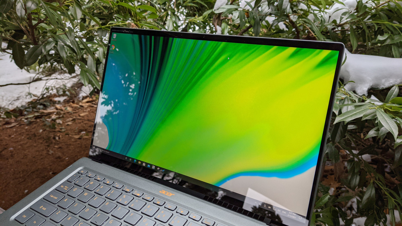 Angled view of Acer Swift 5 display