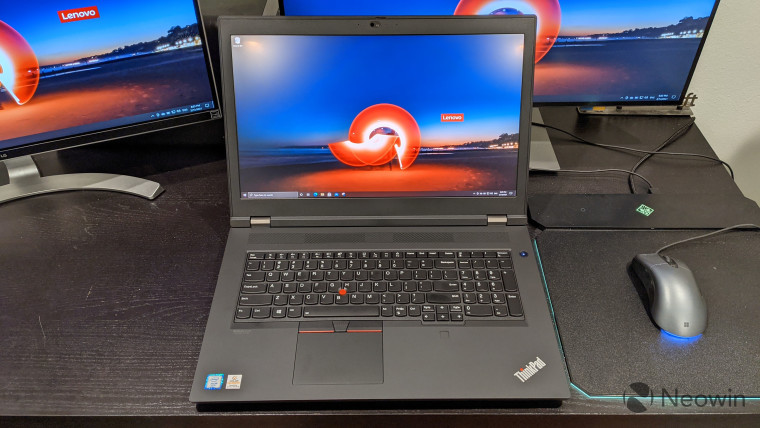 Lenovo ThinkPad P17 connected to two 4K monitors