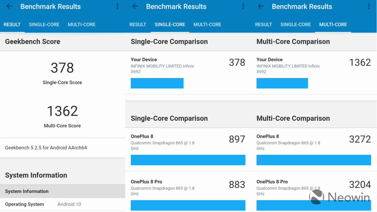 infinix note 8 geekbench 5 benchmarks