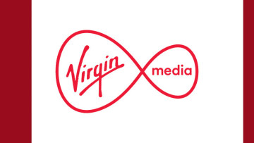 The Virgin Media logo on a white and red background