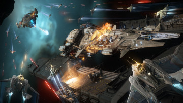 Star Citizen promo material showcasing space ships in combat