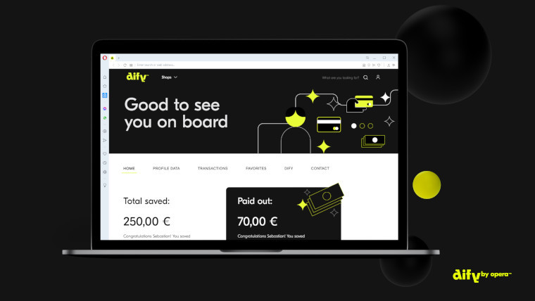 The Dify cashback menu on desktop