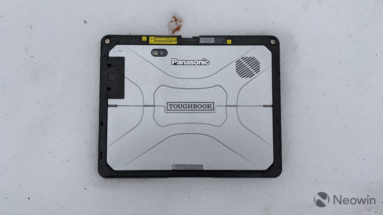 Panasonic Toughbook 33 tablet face down in the snow