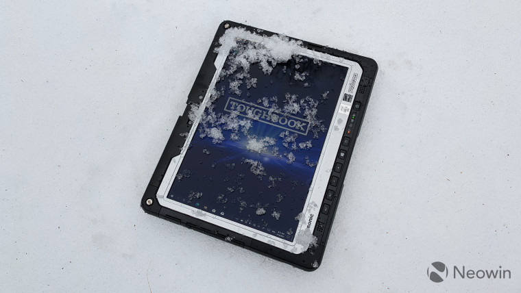 Panasonic Toughbook 33 tablet lying in the snow
