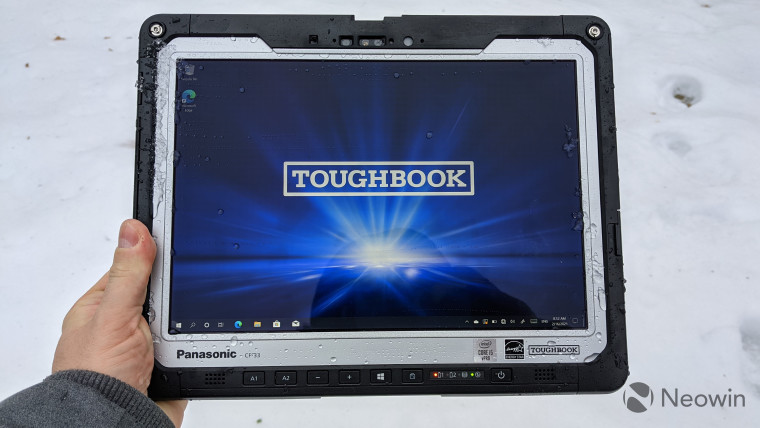 Panasonic Toughbook 33 tablet with snow background