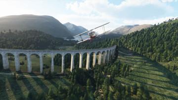 A stunt plane approaching a bridge