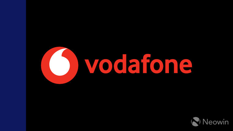 The Vodafone logo on a black and dark blue background