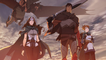 Image from Dota Dragons Blood anime showing Davion and rest of the main cast