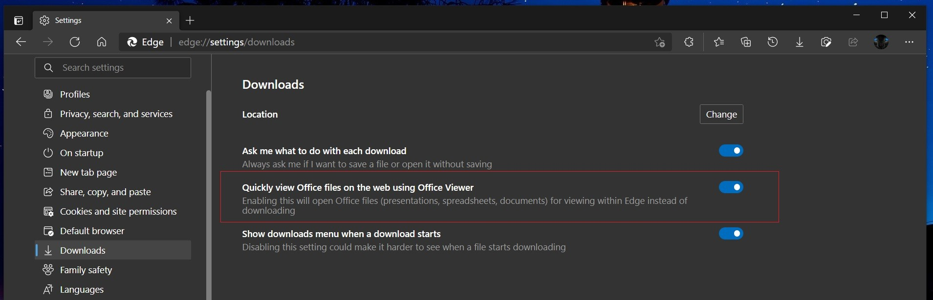 The new toggle for Office Viewer in the Downloads settings page in Edge