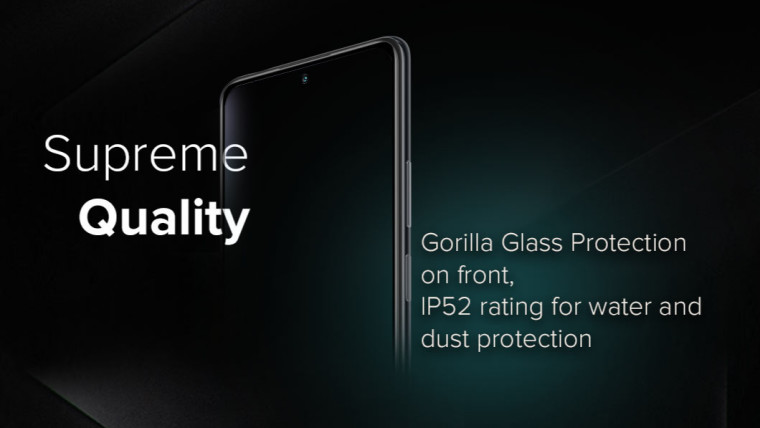 Redmi Note 10 front profile overshadowed by shades of black and emerald with mentions of IP52 rating
