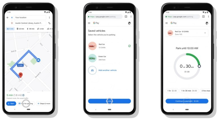 Screenshots showing the parking payment process in Google Maps