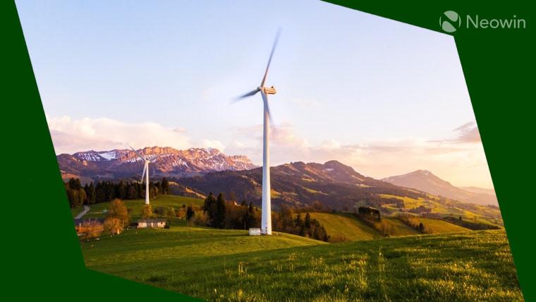 A wind turbine in a field