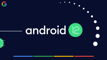 Android 12 logo with 12 dots around it along with the Google logo