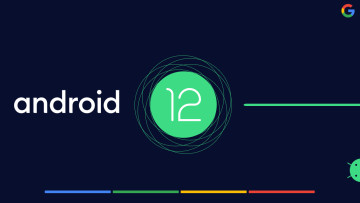 Android 12 logo with concentric circles in the background