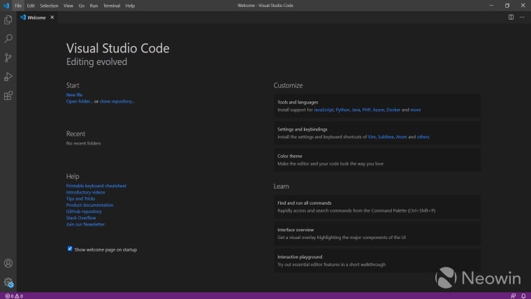 Bootup screen of Visual Studio Code