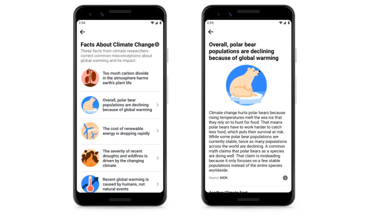 Two screenshots of the Facebook app showing fact checks about climate change on the left screen grab