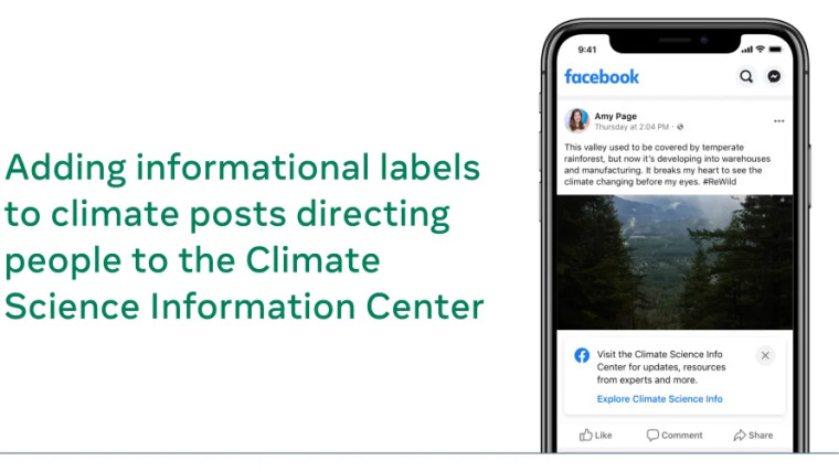 Screenshot of the Facebook app showing a Climate Science Information Center label below a post claim