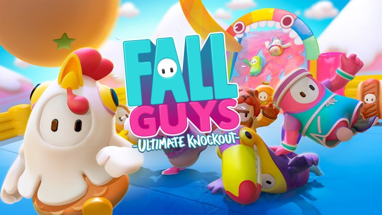 Fall Guys logo over a screenshot of the game
