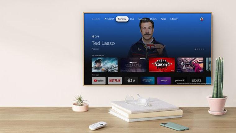 TV showing Apple TV app on Chromecast with Google TV