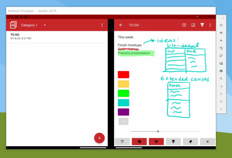 TwoNote, a dual screen note-taking app on Surface Duo emulator