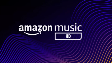 Amazon Music HD logo on a dark background with a wave pattern