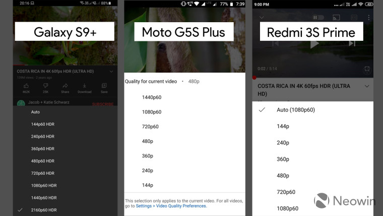 YouTube Android app screenshots from Samsung and Moto phones with resolution settings