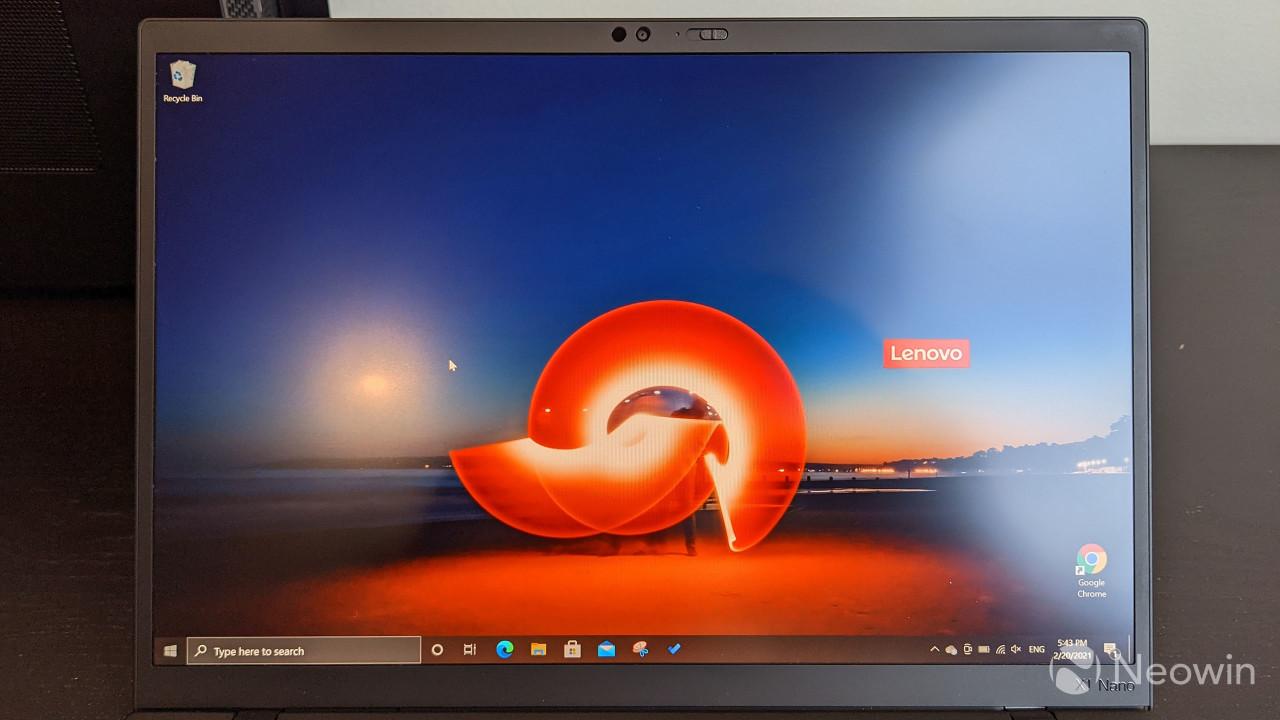 Close-up of ThinkPad X1 Nano display