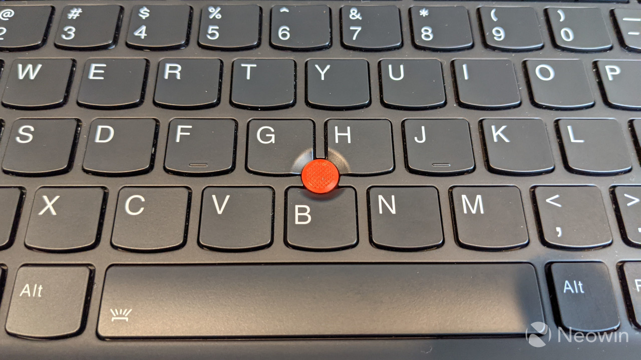 Close-up of TrackPoint on ThinkPad X1 Nano