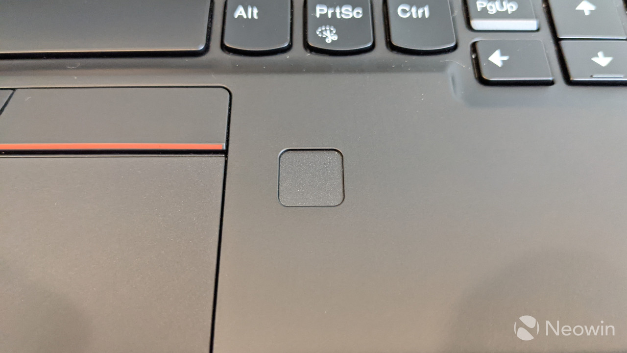 Close-up of ThinkPad X1 Nano fingerprint sensor
