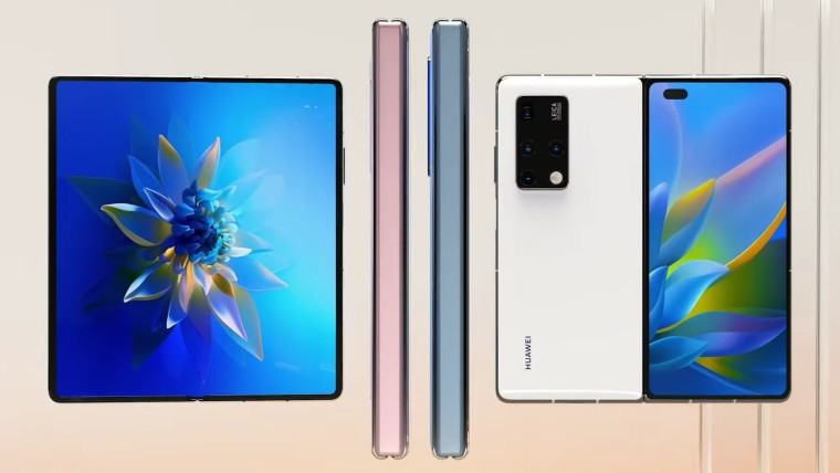 Unfolded front and back, plus spine of the Huawei Mate X2 in various colors