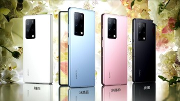 Blue, pink, white, and black models of the Huawei Mate X2