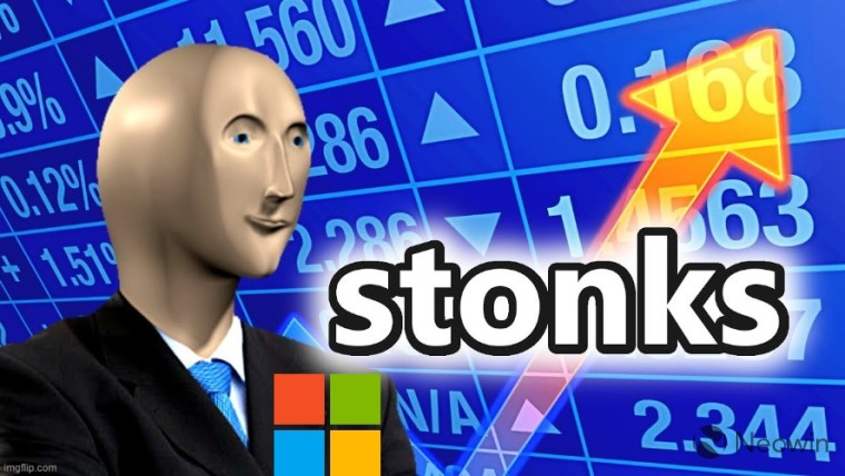 Stonks meme with a Microsoft logo attached on the coat of the guy