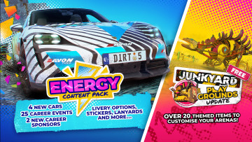 DIrt 5's new Energy content pack and Junkyard Playground update DLCs.