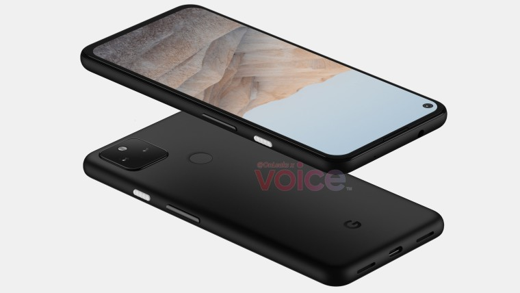 Front and rear views of the Pixel 5a