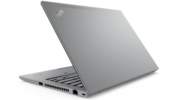 Lenovo ThinkPad T14, partially closed, in Storm Grey