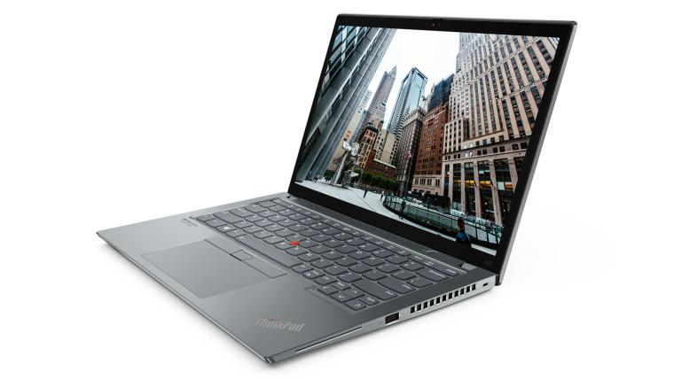 Lenovo ThinkPad X13, open, in Storm Grey