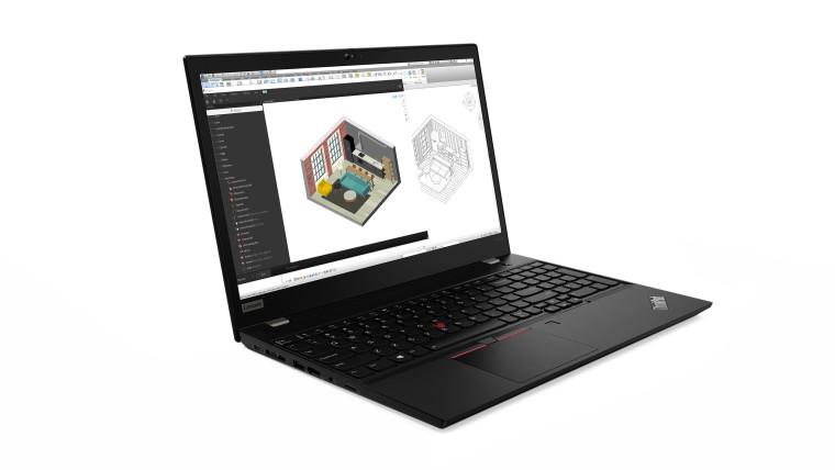 Lenovo ThinkPad P15s, open, in black