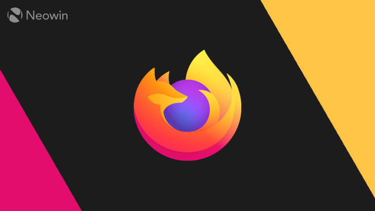 The Firefox logo on a black, yellow and pink background