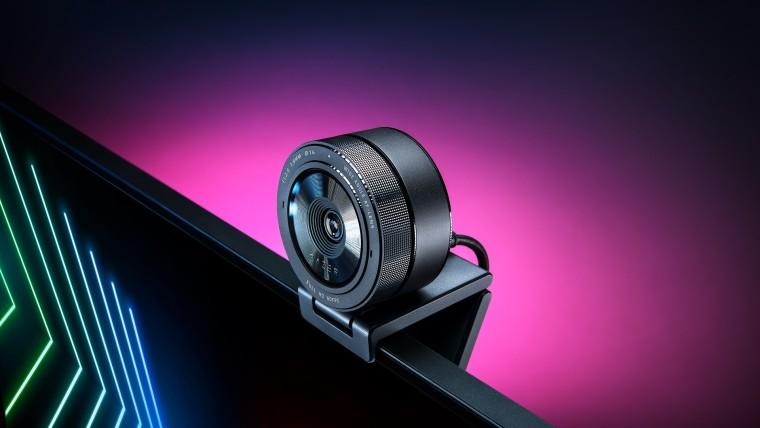 Razer Kiyo Pro webcam mounted on a monitor