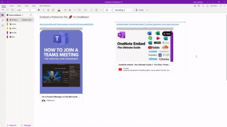 OneNote for Windows 10 showcasing two embedded Pinterest pins