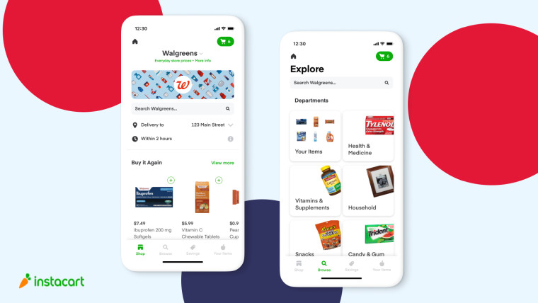 walgreens same-day delivery on instacart mobile application