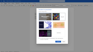 Automatic PowerPoint theme options in Word for the web