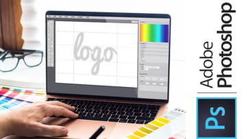 Adobe Photoshop logo creation on a PC