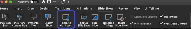 PowerPoint ribbon menu with Rehearse with Coach option highlighted