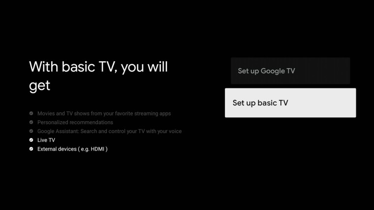 Set up process of a Google TV with the Basic TV option highlighted