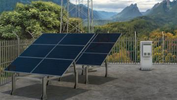 Solar panels being used to power Deutsche Telekom's mobile site in Dittenheim