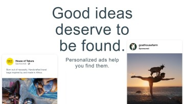 Good Ideas Deserve to be Found text and sponsored Facebook posts on a white background