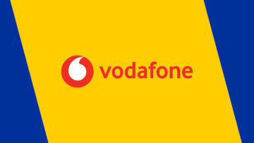 The Vodafone logo on a yellow and blue background