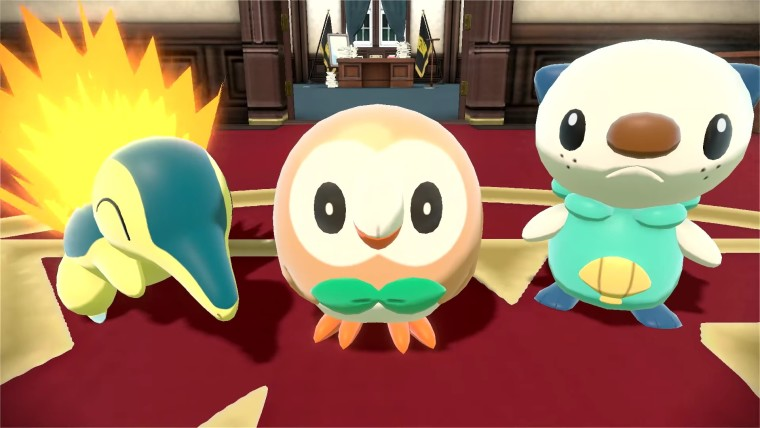Cyndaquil, Rowlet, and Oshawott, the starter Pokémon in Pokémon Legends: Arceus